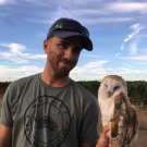Ryan Bourbour with a Barn Owl in the field